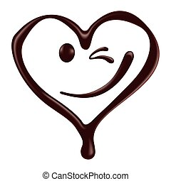 Chocolate heart shape smiley face on white background