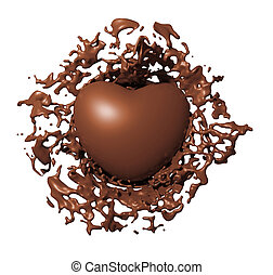 Chocolate heart splash isolated on white background 3d render