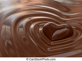 Chocolate heart - Very high resolution rendering of a...