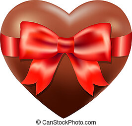 Chocolate Heart With Red Bow