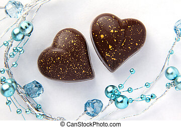 Chocolate Hearts With Blue Beads