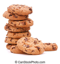 Chocolate homemade pastry cookies isolated on white background