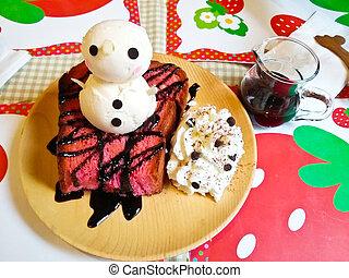 Chocolate Honey Toast with Ice Cream