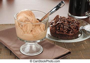 chocolate ice cream and a brownie