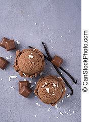 Chocolate ice cream ball
