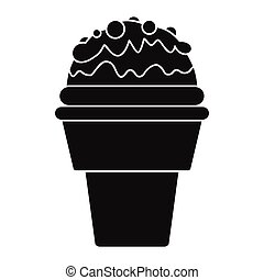 Chocolate ice cream in cone black simple silhouette icon vector illustration for design and web