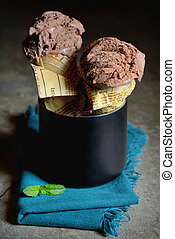 Chocolate Ice cream in waffle cone
