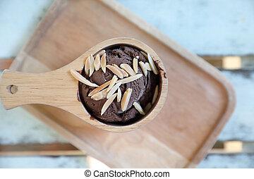chocolate ice cream on wood background