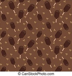 Chocolate ice cream pattern with nuts on a white background