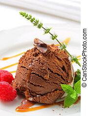 Chocolate ice cream with caramel
