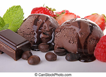 chocolate ice cream with mint and fruit
