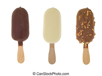 chocolate icecream - three different chocolate ice lollies...