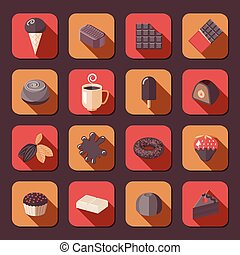Chocolate icons flat - Chocolate delicious cake dark cacao...