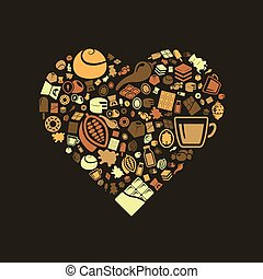 chocolate icons in heart