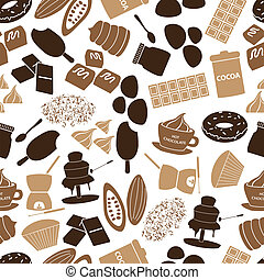 chocolate icons seamless color pattern eps10