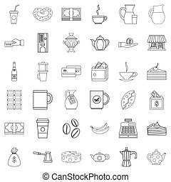 Chocolate icons set, outline style