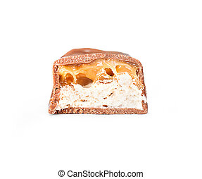 chocolate in a cut isolated on a white background