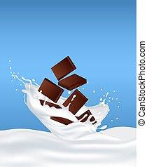 Chocolate in milk and splashes fly around