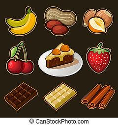 chocolate, jogo, ícones
