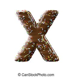 chocolate letter X Isolated on white background