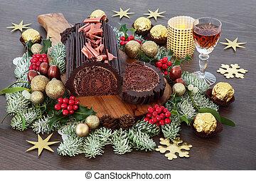 Chocolate Log Christmas Cake