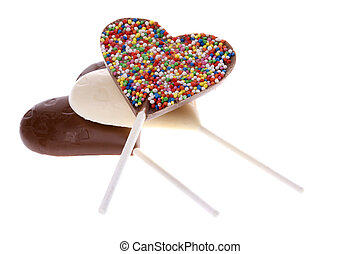 Chocolate Lollipops Isolated