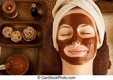chocolate, máscara, facial, balneario