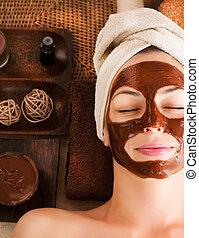 chocolate, máscara, facial, spa