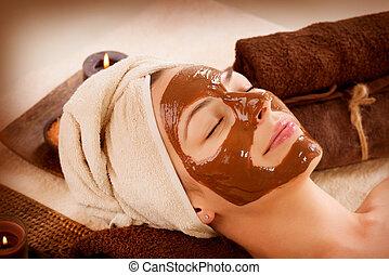 chocolate, máscara, facial, spa., spa beleza, salão