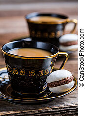 Chocolate macaroons for dessert and coffee