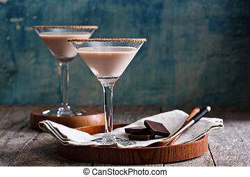 Chocolate martini coctail made from chocolate, cream and ...