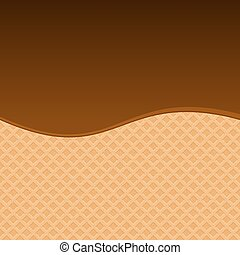Chocolate Melted on Wafer Background
