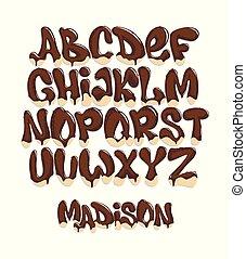 Chocolate Melting Typeset, sweet alphabet, vector illustration