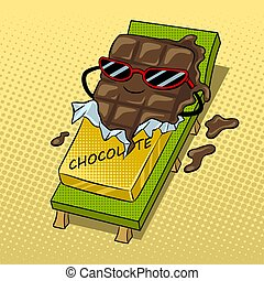 Chocolate melts beach pop art vector illustration
