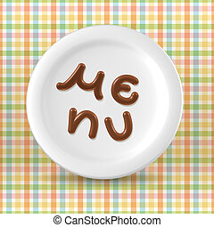 Chocolate menu word on plate