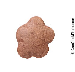Chocolate meringue in the form of a flower. White background.