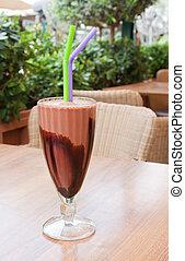 Chocolate Milkshake - A chocolate milkshake on an outside...