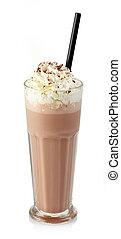 Chocolate milkshake - Glass of chocolate milkshake with...