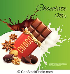 Chocolate Mix Realistic Illustration