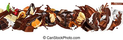 Chocolate mix. Splashes with fruits, nuts, caramel and milk chocolate. 3d vector realistic set