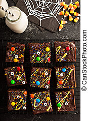 Chocolate monster brownies homemade treats for Halloween -...