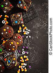 Chocolate monster brownies homemade treats for Halloween - ...
