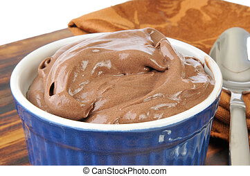 Chocolate Mousse - A bowl of chocolate truffle mousse or ...