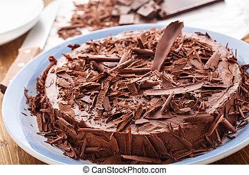 Chocolate mousse cake with dark cherries