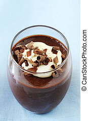 Chocolate Mousse - Chocolate mousse topped with fresh cream ...