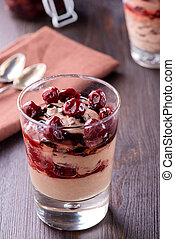 Chocolate mousse dessert with cherries