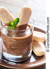 Chocolate mousse in glass