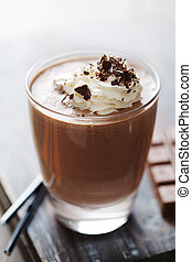 chocolate mousse or milkshake - closeup of an inviting...