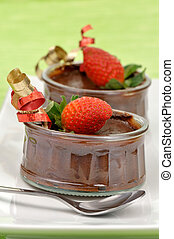 Chocolate mousse - Festive chocolate mousse decorated with a...