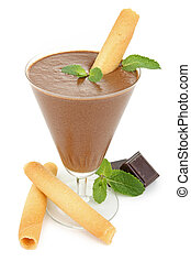 chocolate mousse - isolated chocolate mousse